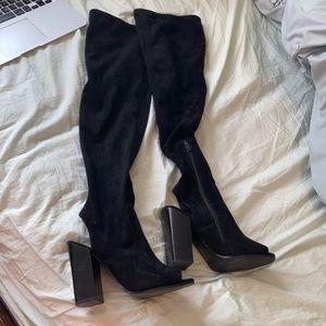 2/$40 Black Aldo Thigh High Boots Chunky Heel